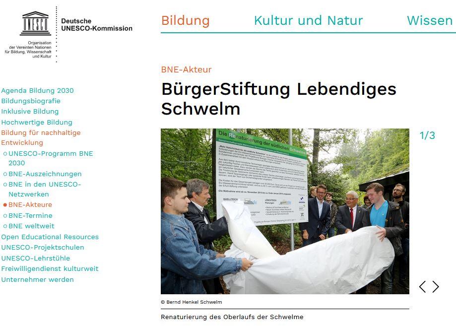 Stiftung ist BNE-Akteur: https://www.unesco.de/bildung/bne-akteure